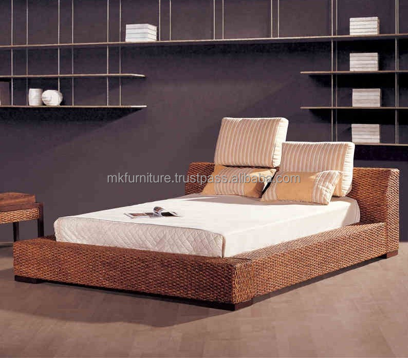Wicker seagrass rattan water hyacinth bedroom set furniture