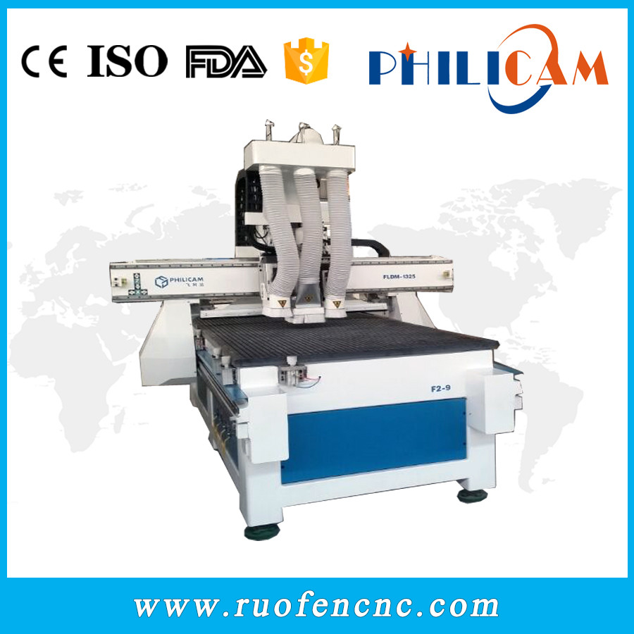 FLDJ 1325 multi heads woodworking cnc router with drill in jinan