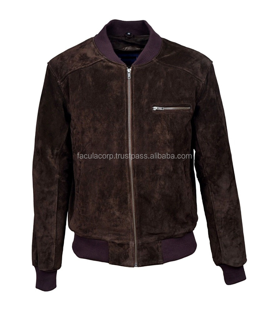Men's Brown Suede Classic Biker Style Italian Fitted Real Leather Jacket FC-7934