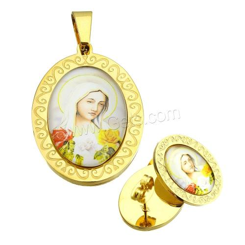 Stainless Steel Saint Jewelry Sets pendant & earring with Resin Flat Oval gold color plated Christian Jewelry