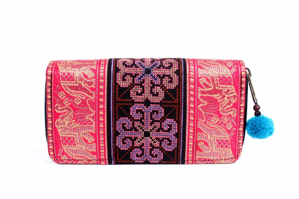 Handmade Elephant and Cross-Stitch Hmong Wallet - Pink
