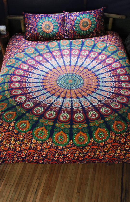 Sheet round beach towels mandala wholesale cotton luxury home printed bedding set mandala custom printed duvet cover