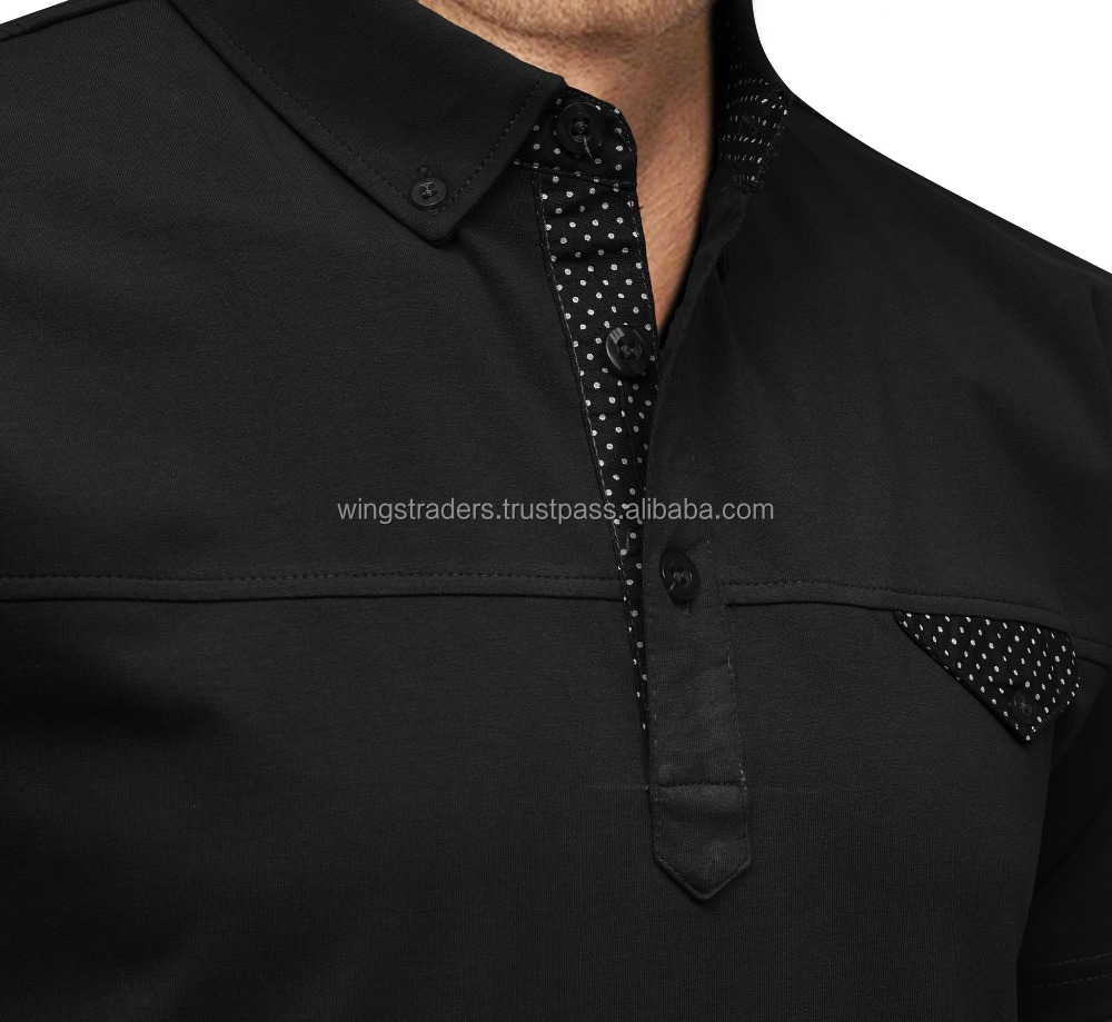 New Black Color Style Of Cotton Slim Fit Polo Mens T Shirts By Wings Traders