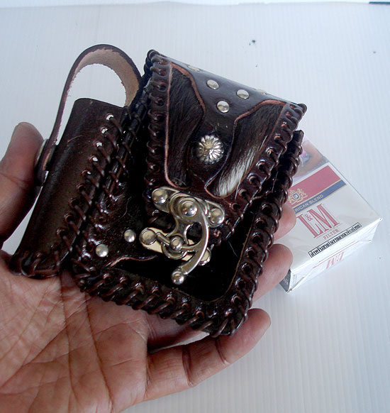 Free Shipping * Leather With CowHide And Its Fur Cigarette Case With Lighter Socket(ThaiComplex)