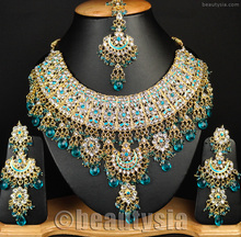 Jewelry Indian Bollywood Jodha Akbar Style Beautiful Turquoise Color Necklace Set