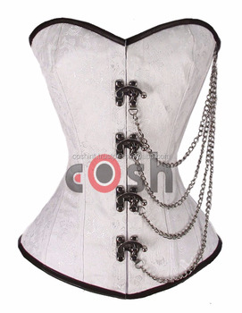 Ci-1108 Overbust White Brocade Chain And Clasped Corset Supplier