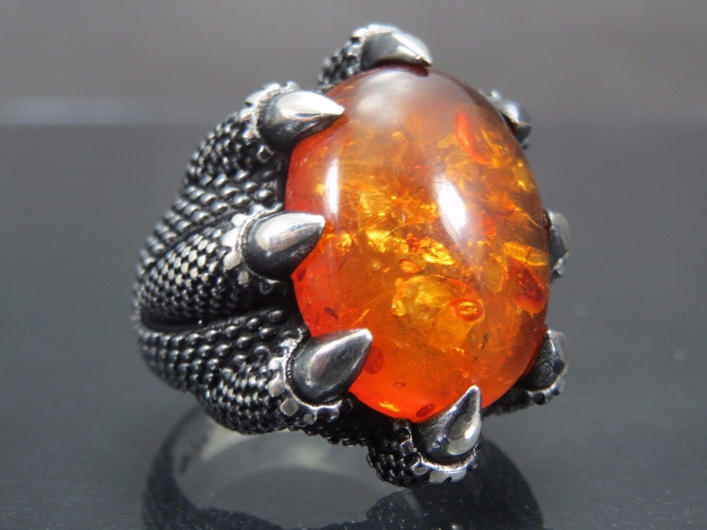 925 Sterling Silver Turkish Ottoman Handmade Amber Stone Man Ring Jewelry