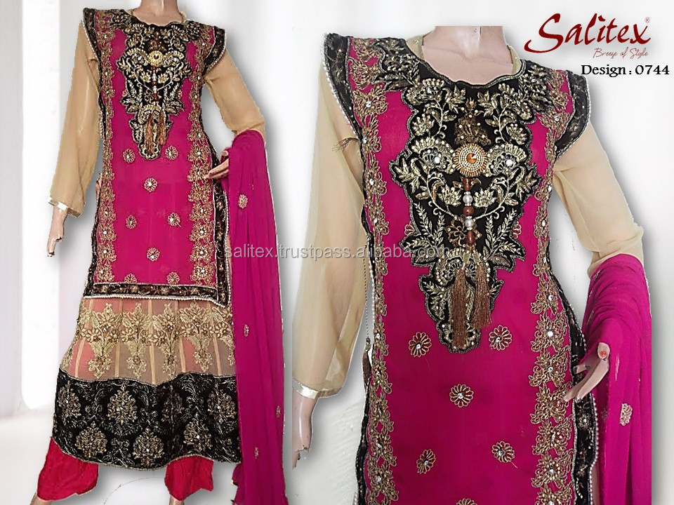 0744- Salitex Chiffon 3 piece suit fancy ladies suits rajasthani lehenga choli