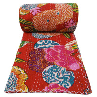 Indian Tropical Kantha Quilt Indian Cotton bedding Kantha Quilt Hand Stitched Baby Quilt Manufacturer