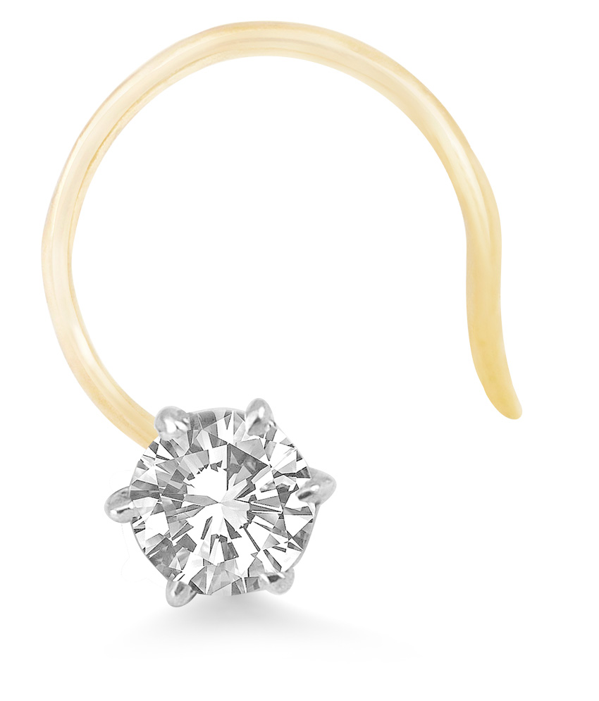 Real Diamond Solitaire Nose Stud 14k Yellow Gold