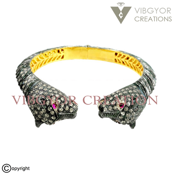 Animal face shape pave diamond sapphire ruby gemstone bracelet jewelry 925 sterling silver 14k gold bangle