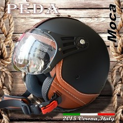 (Moca) Peda 2016NEW ECE DOT casco Italy design motorcycle helmet Unisex open face vintage leather style (PEDA MOTOR)