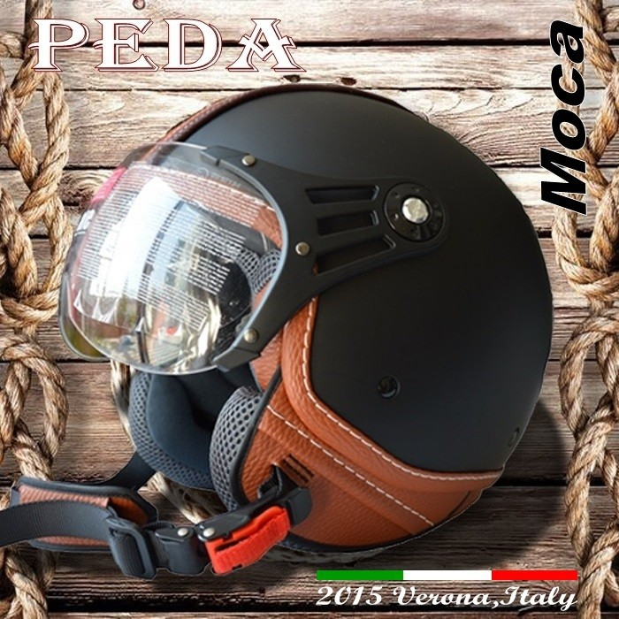 (Moca) Peda 2017NEW ECE DOT casco Italy design motorcycle helmet Unisex open face vintage leather style (PEDA MOTOR)