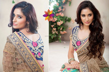 Light Green & Brown Saree With Blue Colour Blouse & Pink Flower Embroidery Beauty Designer Sarees