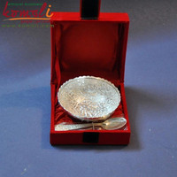peacock motif round silver plated brass serving bowl wedding diwali gifts favor