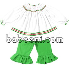 Beautiful flower and geometric hand smocked girl outfits for Christmas - DR 2012