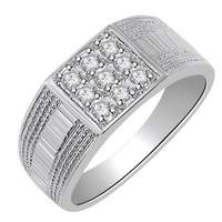 0.45Ct Real Natural Round Cut Diamond Mens Engagement Ring in 10k White Gold