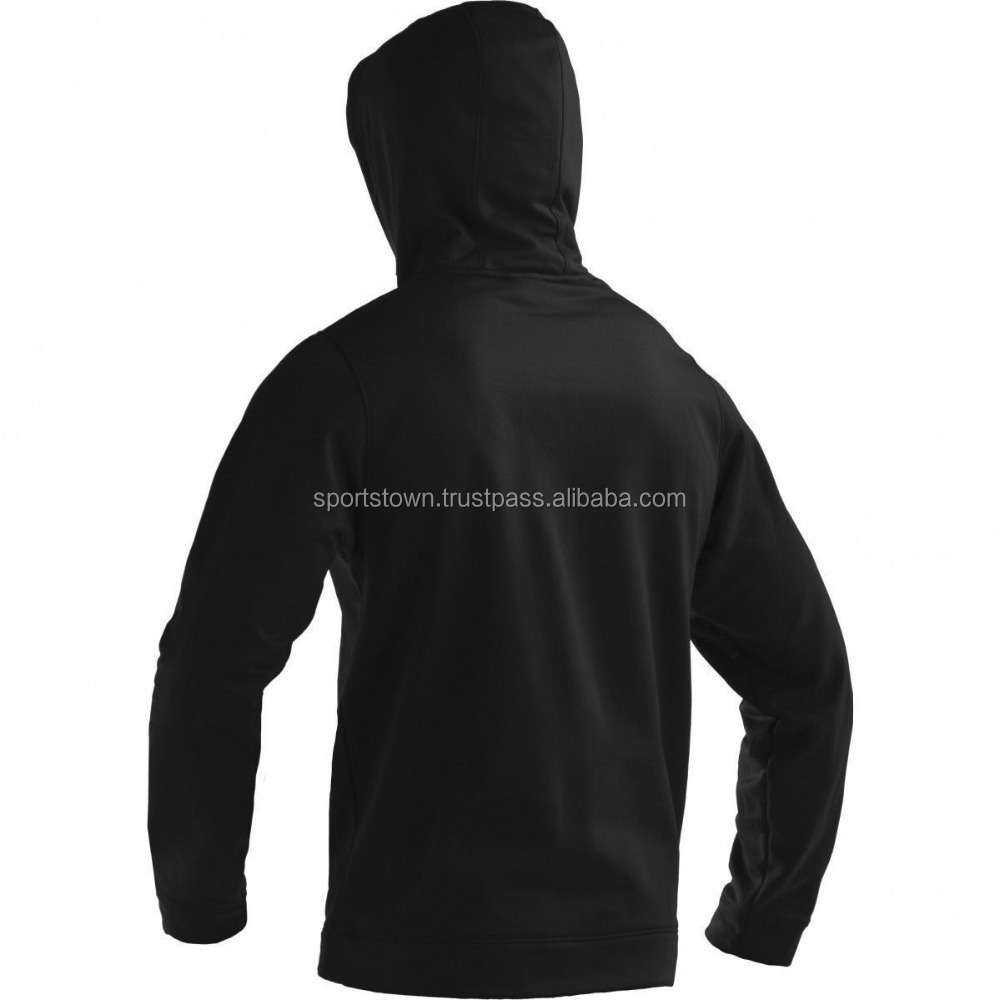 Custom men black 100% polar fleece plain hoodie