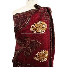 Maroon Shawl Embroidered Women Winter Fringed Scarf Winter Rectangle Stole India SHW989