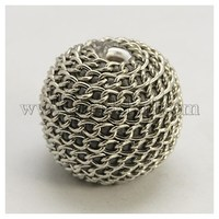 Indonesia Beads, Silver Plating Brass Core, with iron chain cover, Round, 29mm, Hole: 3mm IPDL-N267-1-1
