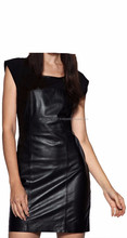 2015 FASHION STYLISH GOTHIC JERSEY INTERLACED CLUBWEAR LEATHER DRESS FOR WOMEN