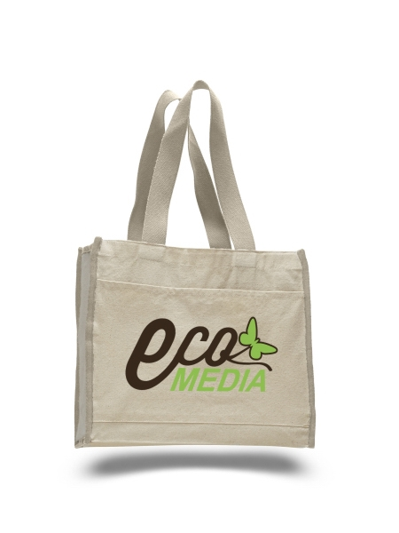 "Full Color Print Natural Canvas Tote Bag - made from 12 oz cotton canvas, measures 12""H x 14""W x 5.25""D and comes with your logo"