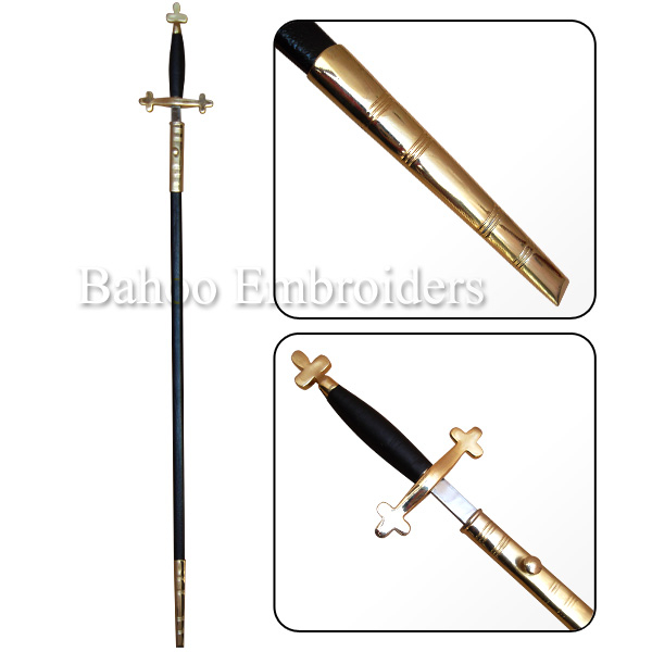 Knights Templar Sword Gilt with Black Scabbard | Masonic Swords