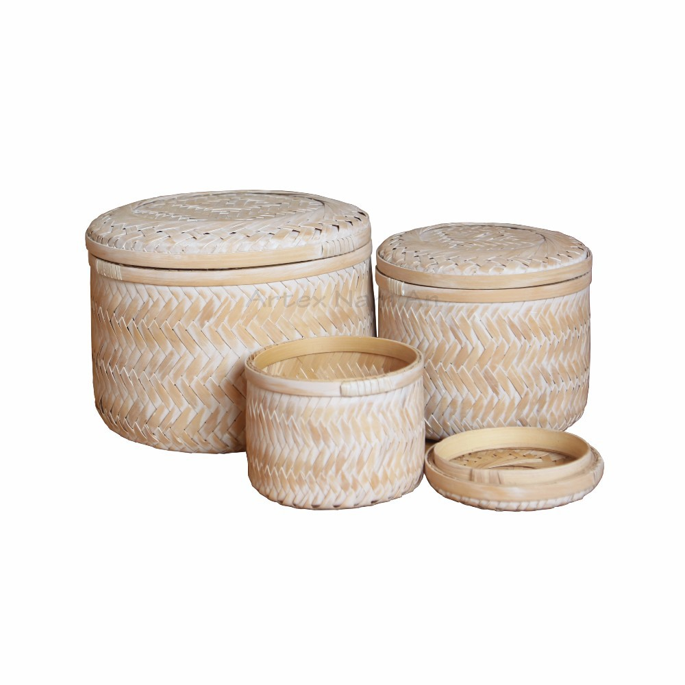 Bamboo double wall tea box with lid, handicrafted tea box with best price
