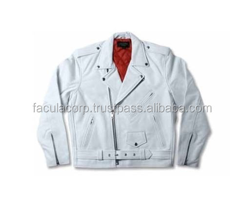 2016 Men's Genuine sheep Nappa Leather White Casual Zipper Motorcycle Jacket With Red Lining New All Size FC-7731