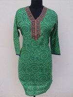 indo western kurtis / neck designs of kurtis with buttons /Green designer cotton kurtis for ladies
