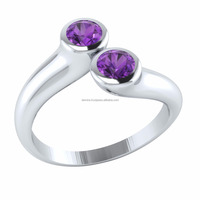 14k Gold Round Cut Natural Gemstone Bypass Ring
