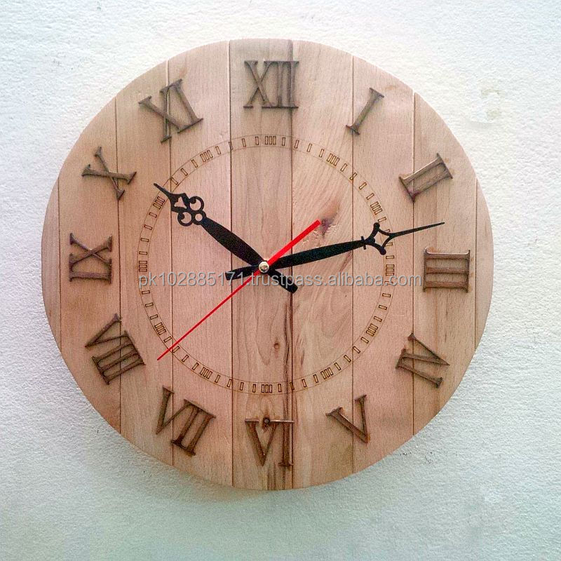 Solid Wood Strips Vintage Wall Clock - Roman Digits