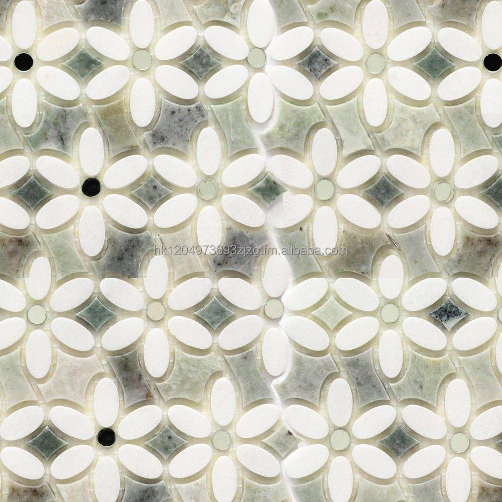 Waterjet mosaic with White Thassos and Ming Green or other materials
