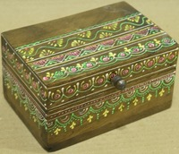 NATURAL WOODEN FINISHING HANDMADE BOX WITH MULTI COLOR EMBOSSING RANGOLI DESIGN FOR HOME DECOR AND GIFT SIB-52B