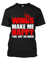 Men's High Quality Black Screen Printed Artwork Tshirt Tee Wings Make Me You Happy Red & White Cotton Polyester Hot Selling