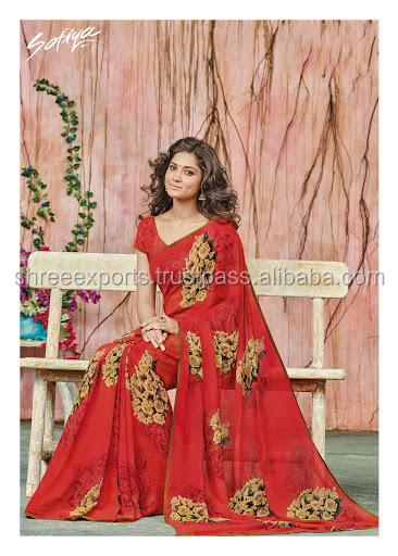 Remarkable Red Georgette Designer Saree/bridal saree blouses designs/wholesale saree