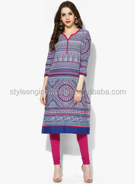 BORDER PRINTED KURTA WITH 3/4TH SLEEVES