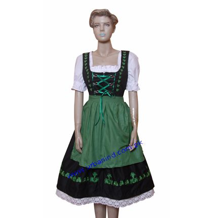 Green Color Apron Embroidery Women Dirndl Dress