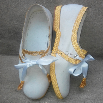 Handmade custom church bishop velvet slipper shoes with gold braid lace
