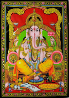 Hindu Lord Ganesha Deity Art Sequin Work Indian God Batik Wall Hanging cotton Tapestry Good luck art Wall Hangings Wholesale lot
