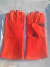 Mig Welding Gloves 14 inches long, cotton lined, Kevlar thread stitched, reinforced frictional area.