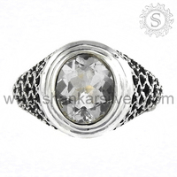 Mysterious Design Crystal Ring Natural Gemstone Silver Jewellery 925 Sterling Silver Jewelry Manufacture