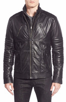 Men quilted sleeve leather bib insert jeep winter jacket