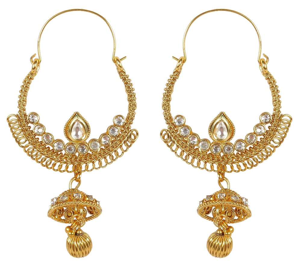 Indian Gold Plated Traditional Stylish Crystal Stone With Kundan Earrings For Women