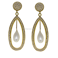 925 Sterling silver gold plating earring, classic fresh water pearl gemstone silver earring, fine silver earring