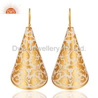 White Enamel Design Brass Earring Gold Plated Stylish Girls Earring Handmade Indian Jewelry Supplier