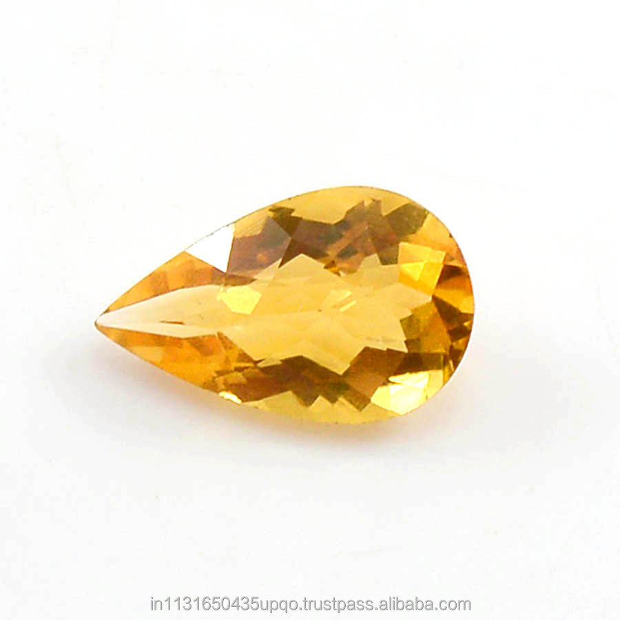 2.55Cts Faceted Citrine Topaz Loose Cut Gemstone 7X5X5mm Pear Shape