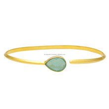 Latest Design Gold Plated Aqua Chalcedony Stone Adjustable Bangle Bracelet for Women Girls Jewelry, Wholesale Jewelry 2017 FK-01