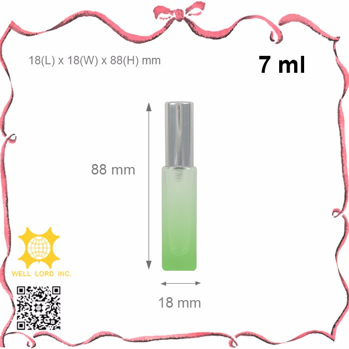 7ml high quality pump spray coral pink small perfume cosmetic glass bottle