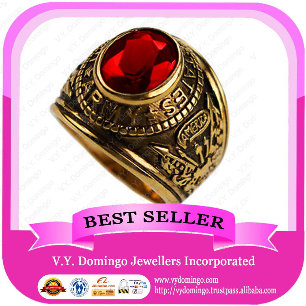 24kt Electroplated Wholesale College Ring Customized Class Ring
